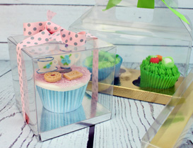 clear cake and cupcake boxes