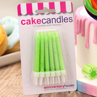 Lime Green Glitter Birthday Cake Candles And Holders (12Pc.)
