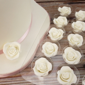 Small White Soft Sugar Roses 38mm (20 pc.)