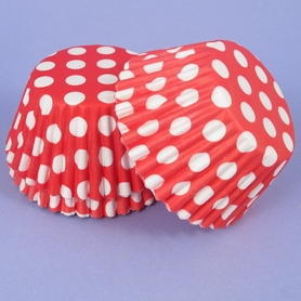 Pack Of 54 Red With White Spots Baking Cases