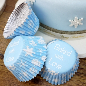 Blue Cupcake Cases With White Snowflakes Design (25pc.)