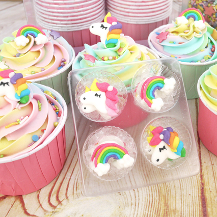 Unicorn And Rainbow Sugar Decorations (12Pc.)