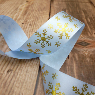 Blue Ribbon With Gold Snowflake Design