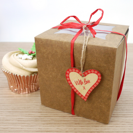 Individual Cupcake Kit  - Boxes (x 10), Red Raffia And Wooden Gift Tags