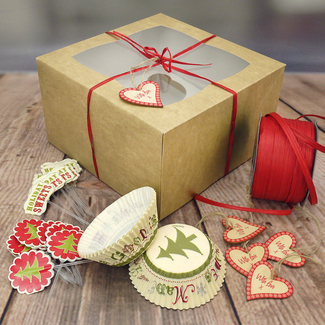 4 Cavity Cupcake Kit - Boxes (x 10), Red Raffia And Xmas Wooden Gift Tags