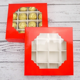 Economy Red Window Sweet Box And Insert Dividers