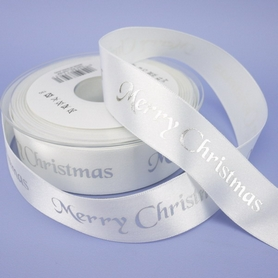 White Ribbon With Silver 'Merry Christmas' Wording