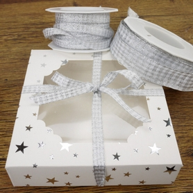 Silver & White Sparkly Gingham Ribbon