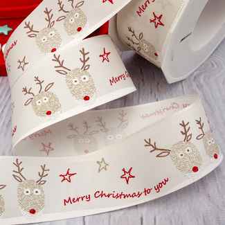Ivory Ribbon With Reindeer, Stars And 'Merry Christmas' Wording