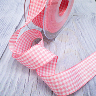 Pink And White Gingham Small Check Ribbon