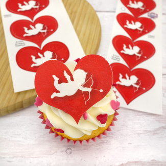 Cupid Wafer Hearts Cupcake Toppers (12Pc.)