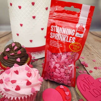 Cake Decor Red And Pink Mini Icing Hearts Sprinkles (50g Pouch)