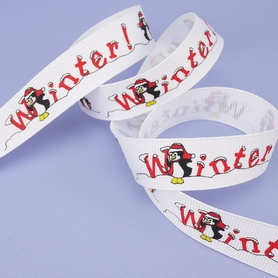 Winter! Penguins Grosgrain Ribbon