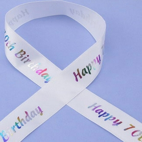 1 Metre Length Of Happy 70th Birthday Ribbon
