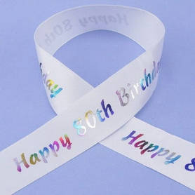 1 Metre Length Of Happy 80th Birthday Ribbon