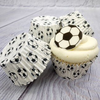 White Football Cupcake Cases