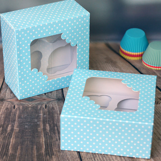 Blue And White Polka Dot Window Cupcake Boxes (2Pc.)