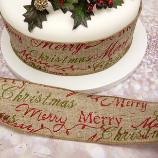 Hessian Merry Christmas Wide Wired Ribbon