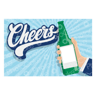 Edible Personalised 'Cheers' Beer Bottle Photo Cake Topper