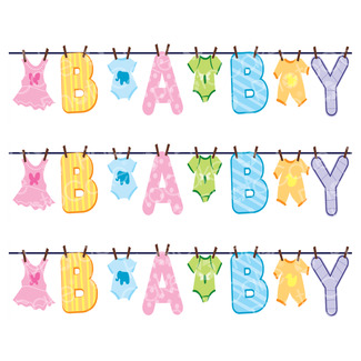 Edible Print 'Baby's Washing Line' Cake Strips