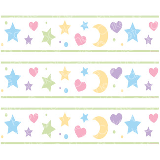 Edible Print 'Moons, Stars And Hearts' Cake Strips