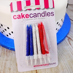 Red, White And Blue Glitter Birthday Cake Candles And Holders (12Pc).