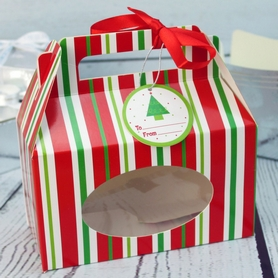 Red And Green Stripe Cookie Boxes (4Pc.)