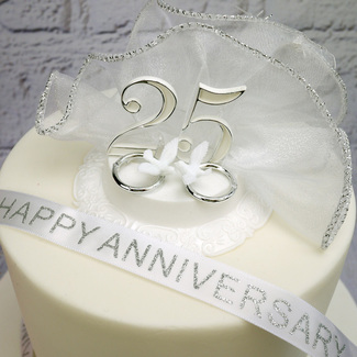 Silver Wedding Anniversary Cake Decoration Set