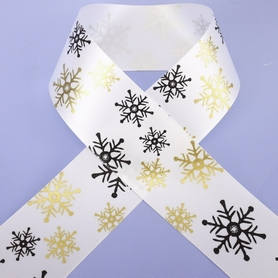 1 Metre Length Of White Ribbon With Black & Gold Snowflake Design