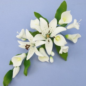 Small White Double Rubrum Lily Spray