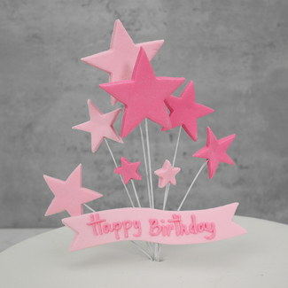 Pink Icing Happy Birthday Banner And Stars Cake Topper