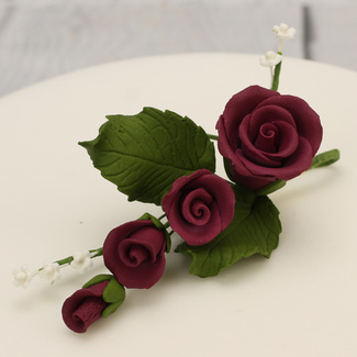 Extra Small Icing Rose Spray In Burgundy