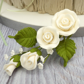 Extra Small Handmade Sugar Rose Spray In Ivory