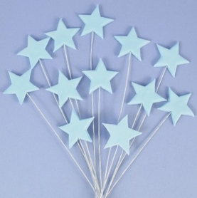 Pack Of 12 Icing Stars On Wires In Blue With Plastic Pick