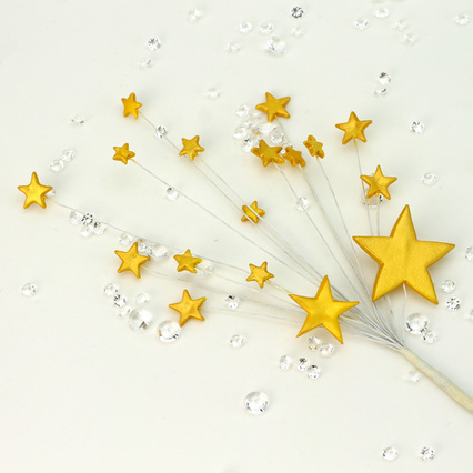 Radiant Gold Handmade Icing Shooting Stars Spray With Plastic Pick