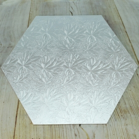 Hexagonal Hardboard Cake Cards In Silver