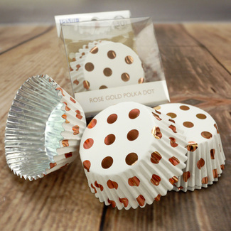 White With Rose Gold Polka Dot Cupcake Cases (30Pc.)