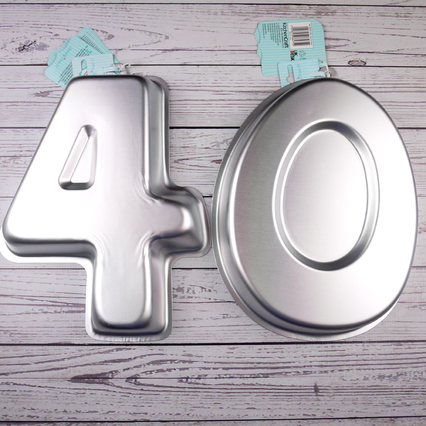 Numbers Four & Zero (40) Shaped Number Tins By Kitchencraft