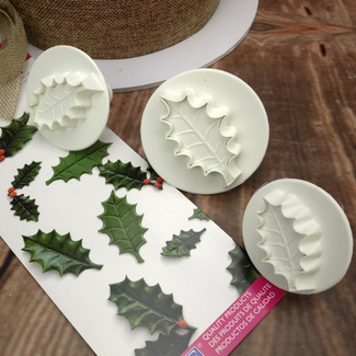 Large Set Of 3 Veined Holly Leaf Plunger Cutters
