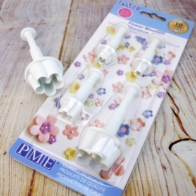 Set Of 4 Plastic Flower Blossom Plunger Cutters
