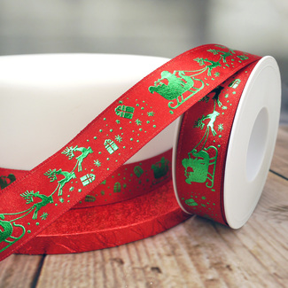 Red Ribbon With Green Embossed Sleigh And Reindeer Design
