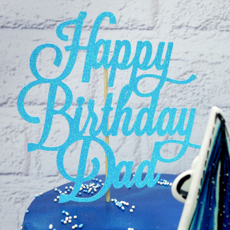 Blue Glitter 'Happy Birthday Dad' Cake Topper