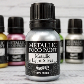 Light Silver Metallic Food Paint by Rainbow Dust