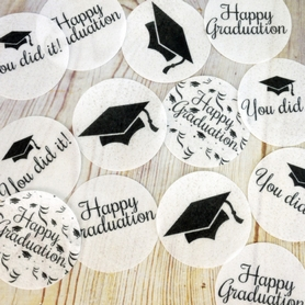Black And White Graduation Wafer Discs (12 pc.)
