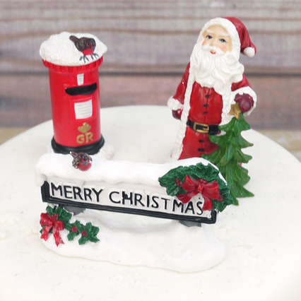 Santa With Tree, Post Box And Street Sign Cake Toppers Set