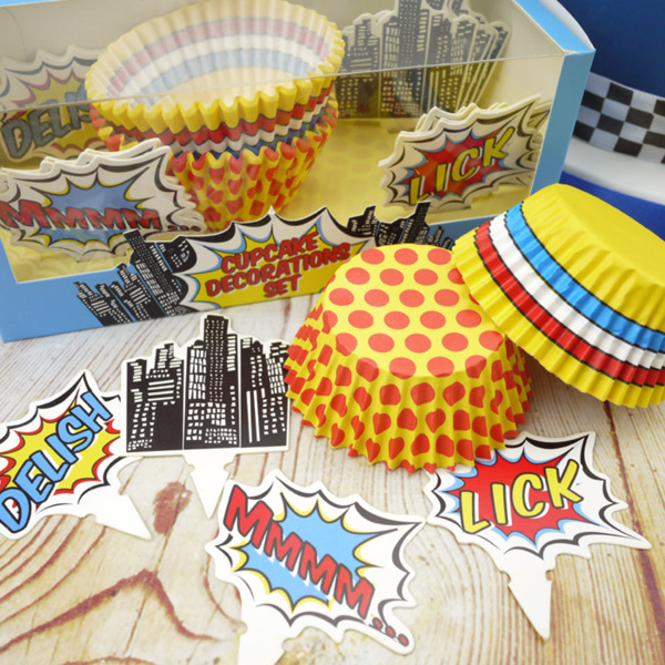 Ginger Ray Pop Art Party Cupcake Decorations Set