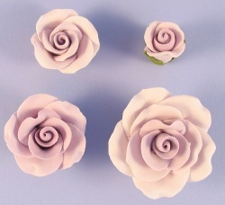 Pack Of 10 Handmade Sugar Roses In Lavender