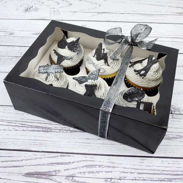 Black 6 Cavity Window Cupcake Box With Insert