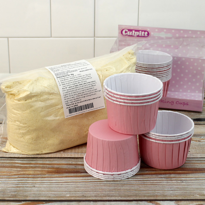 Pack Of 24 Pink Baking Cups & 1k Pack Of Madeira Cake Mix
