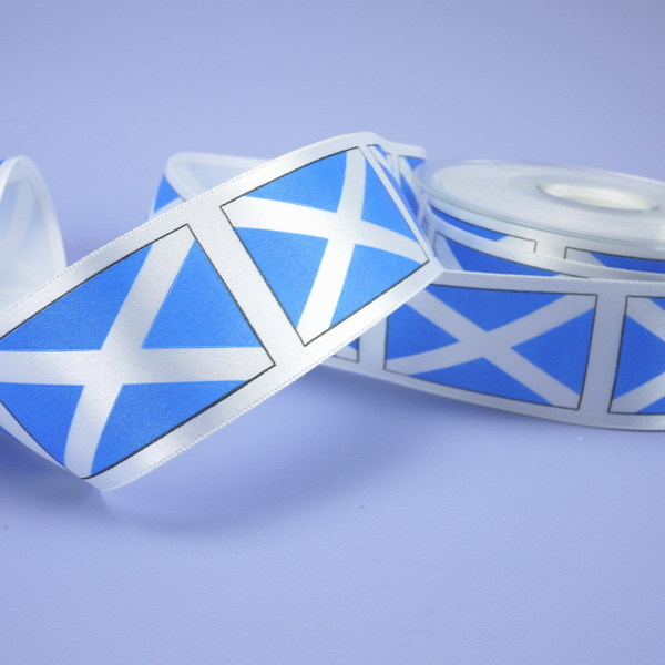 1 Metre Length Of White Satin Ribbon With St.Andrew's Cross Emblem